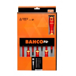 BahcoFit insulated screwdriver set, 7 pcs, Slotted, PZ