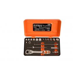 """BAHCO 1/4"""" Dugókulcs készlet fémdobozban, hűtoszerelés, collos, 19 részes"""