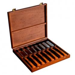 424P 8 pcs Professional 2 component handle chisel set in wooden box 6, 10, 12, 16, 18, 25, 32, 36MM