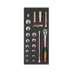 """BAHCO 1/3 Szerszámszivacs modul, 1/2"""" dugókulcs készlet, 21 részes"""