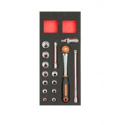 """BAHCO 1/3 Szerszámszivacs modul, 1/2"""" dugókulcs készlet, 15 részes"""