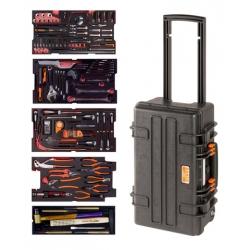 BAHCO Erősített gurulós koffer, teleszkópos fogantyúval, 159 részes feltöltés