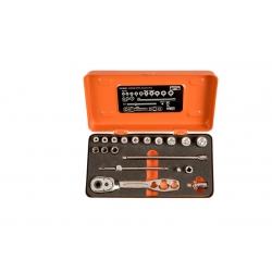 """BAHCO 1/4"""" Dugókulcs készlet fémdobozban, hűtő és klímaszereléshez, 19 részes"""