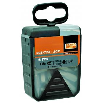 """BAHCO 1/4"""" Bitkészlet, TORX® T10, 25mm, 30 bit/doboz"""