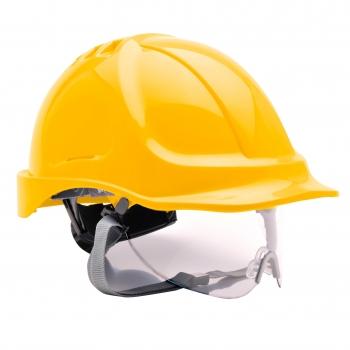 PORTWEST Védősisak védőszemüveggel kombinált, használható: 7 év gyártástól, SÁRGA
