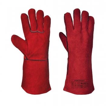 Hegesztőkesztyű hosszú szárú, kevlár varrással, piros, A500, Méret: XL