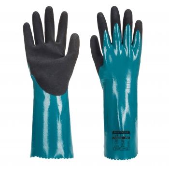 Védőkesztyű nitril hosszúszárú, Sandy Grip Lite, Méret: M, AP60, Szín: kék/fekete