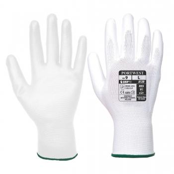 Védőkesztyű Poliamid/PU fehér 7-es, S