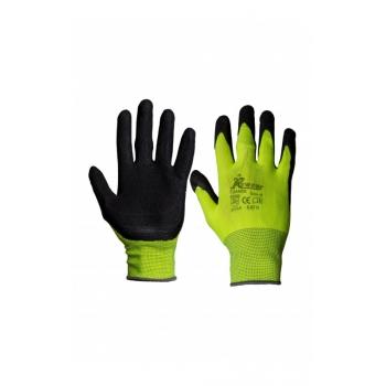 Védőkesztyű latex, Foamer Szín: sárga / fekete, Méret: XL