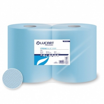 Kéztörlő papír tekercses 3 rétegű Lucart, Strong Blue 3.500, 500 lap, 2db tekercs