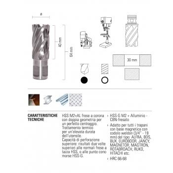 ECEF Fúrókorona Weldon 19, 12x30mm munkahossz, HSS-M2+AL