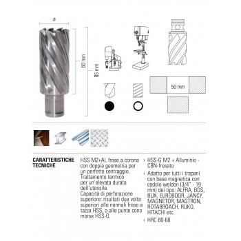 ECEF Fúrókorona Weldon 19, 14x50mm munkahossz, HSS-M2+AL