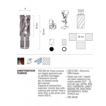 ECEF Fúrókorona Weldon 19, 14x30mm munkahossz, HSS-M2+AL