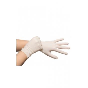 Egyszerhasználatos latex kesztyű, púdermentes XL, 100db/doboz! Szín: fehér