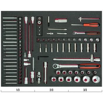 """BAHCO 3/3 Szerszámösszeállítás: 1/4"""" + 1/2"""" Dugókulcsok + 10mm Bitek, 108 részes"""