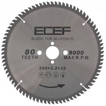 ECEF Vídiás Alumínium vágó Körfűrészlap álló gépekhez, 250 MM Fogszám: 80