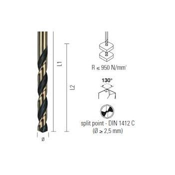 ECEF Fémcsigafúró 0,75mm HSS-G M2, 130° split point, Gold Black, TeKno Xp-Plus DIN338