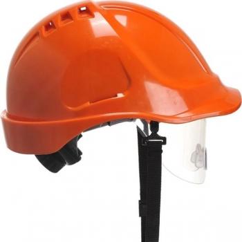 PORTWEST Védősisak védőszemüveggel kombinált, használható: 7 év gyártástól, narancs