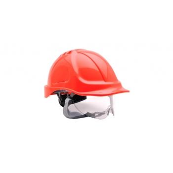 PORTWEST Védősisak védőszemüveggel kombinált, használható: 7 év gyártástól, piros