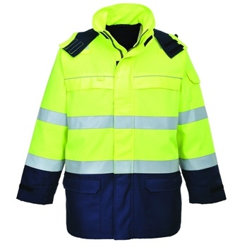 Bizflame Multi Arc Lángálló láthatósági kabát FR79 PORTWEST Szín: sárga / tengerészkék, Méret: M