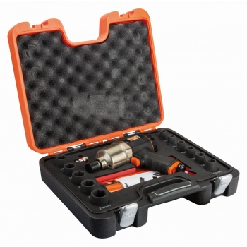 """BAHCO 1/2"""" Ütvecsavarozó készlet tartalma: 1/2"""" ütvecsavarozó, 11 dugókulcs (10-24 mm) és 1/4""""-os külső csatlakozó"""