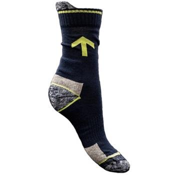 Munkavédelmi zokni, 87% pamut, 4% poliamid, 9% elasztán, gumirozott szár, erősített sarokrész. Méret: 44-46
