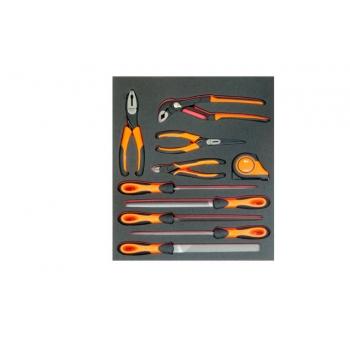 BAHCO 2/3 Szerszámszivacs modul, reszelők, fogók és mérőszalag, 10 részes, ÜRES