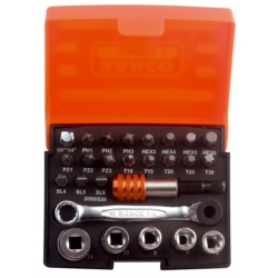 BAHCO bit set with bits, sockets, bit-ratchet and adapters