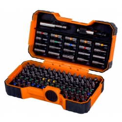 BAHCO 100 pcs bit set for Slotted, Phillips, Pozidriv, Hexagon, Robertson and coloured TORX® & TORX® Tamper, head screws